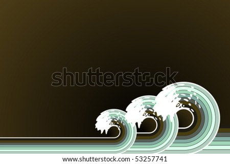 Vector illustration of retro water waves spiraling backwards with stylized white splashes. Copy space. - stock vector