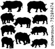 Vector illustration of Rhinoceros Silhouettes. - stock vector