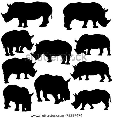 Vector illustration of Rhinoceros Silhouettes. - stock vector