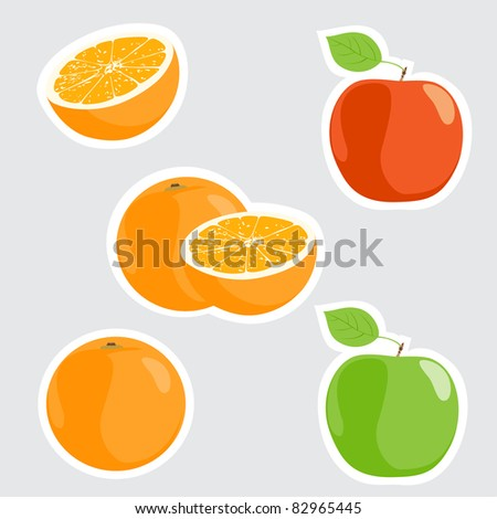 vector illustration of ripe fruits (orange, apples) - stock vector