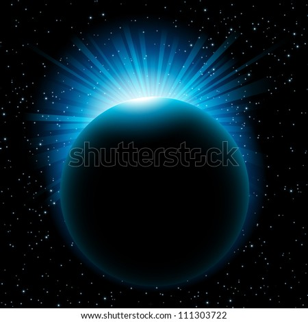 Vector illustration of rising blue sun over the planet