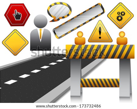 Vector illustration of road and elements associates to the road.