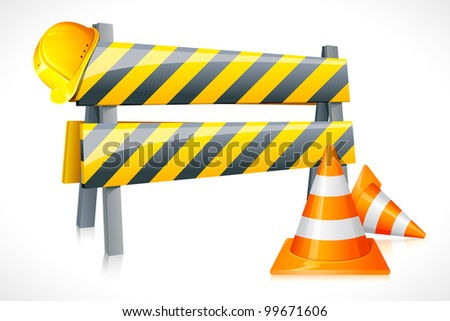 vector illustration of road barrier with cone and hardhat - stock vector