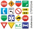 Vector illustration of road signs. - stock