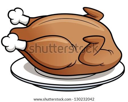 Vector illustration of roast chicken - stock vector