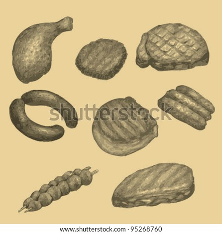 Vector illustration of roasted meat - stock vector