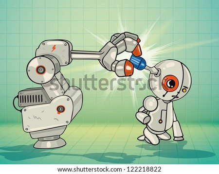 Vector Illustration of robot arm fixing the little robot with a screwdriver - stock vector