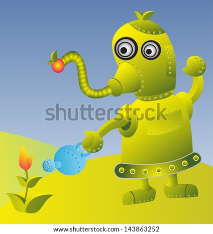 vector illustration of  robot water tree