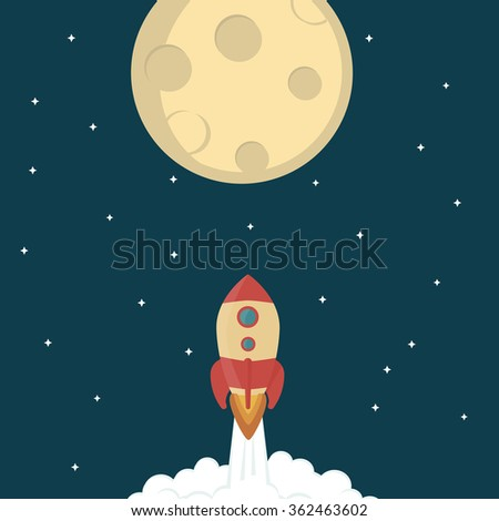Vector illustration of rocket going to moon - stock vector