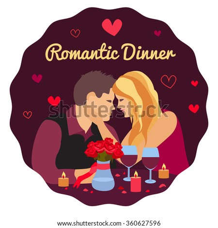 Vector illustration of romantic couple in the cafe , romantic dinner, Valentine's Day Card. Dating couple scene, love confession vector illustration - stock vector
