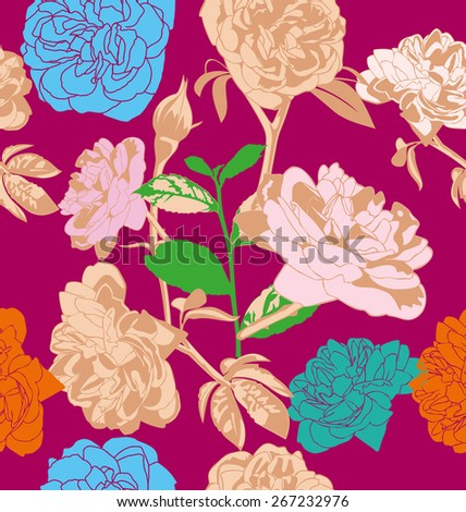 Vector illustration of  rose seamless pattern for retro wallpapers