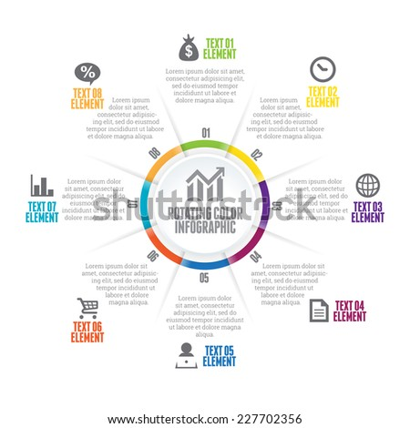Vector illustration of rotating color infographic design element. - stock vector