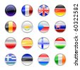 Vector Illustration of round buttons set, decorated with the flags of european countries. - stock photo