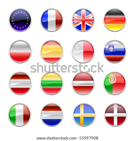 Vector Illustration of round buttons set, decorated with the flags of european countries. - stock vector