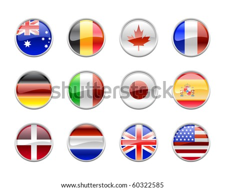 Vector Illustration of round buttons set, decorated with the flags of the world (G12). - stock vector