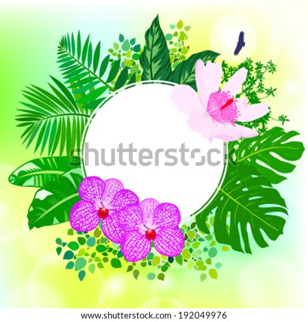 Vector illustration of round card with tropical elements of decor, framed by palm and banana leaves, big monstera plant, orchid flowers and lotus on shiny sunny green background with sparkles of light - stock vector