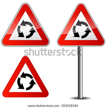 Vector illustration of roundabout signpost on white background
