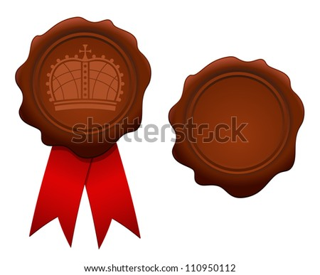Vector illustration of royal wax seal - stock vector
