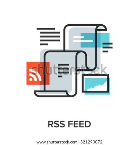 Vector illustration of RSS feed flat line design concept. - stock vector