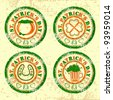 Vector illustration of Rubber stamp in red and green color on grungy background  for St. Patrick's Day. - stock photo