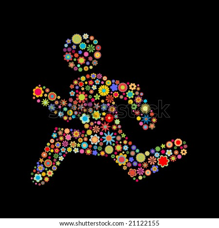 Vector illustration of  runing men shape  made up a lot of  multicolored small flowers on the black background - stock vector