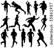 Vector illustration of Running Silhouettes. - stock photo