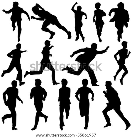 Vector illustration of Running Silhouettes.