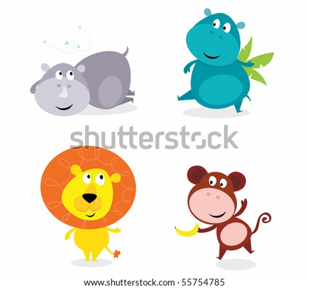 Vector illustration of safari animals isolated on white background: hippo, rhino, lion and monkey. - stock vector