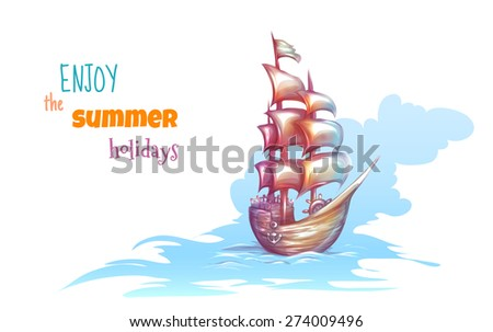 Vector illustration of sail ship with sea. - stock vector