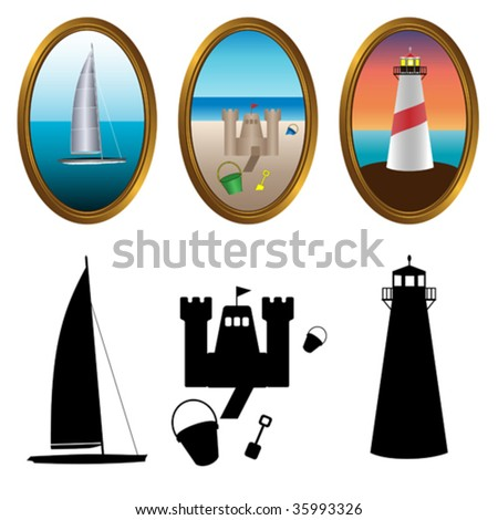 Vector illustration of sailboat, lighthouse and sandcastle.