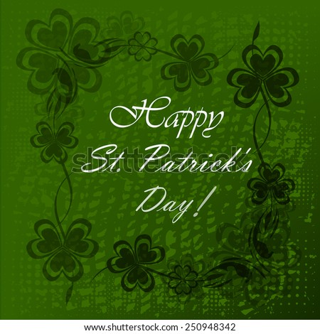 Vector illustration of Saint Patrick's Day background with clove - stock vector