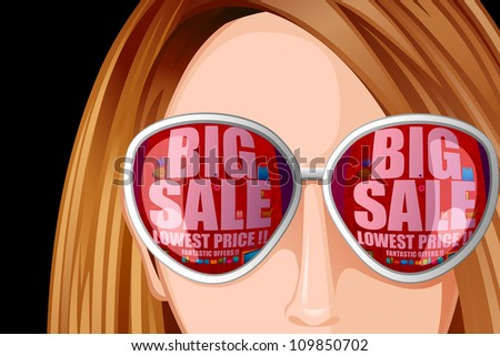 vector illustration of sale reflection of goggle in lady face - stock vector