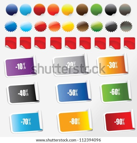 vector illustration of   sale stickers set. - stock vector
