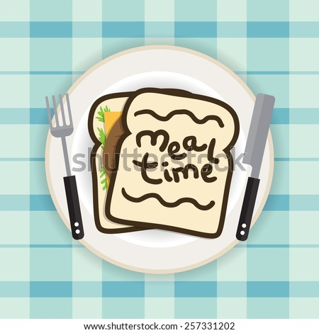 Vector illustration of sandwich on a plate with fork and knife. - stock vector