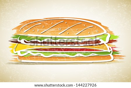 Vector illustration of sandwich on grunge background - stock vector