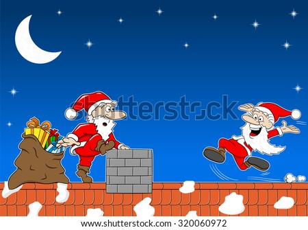 vector illustration of santa claus at work on a roof who meets another santa claus - stock vector