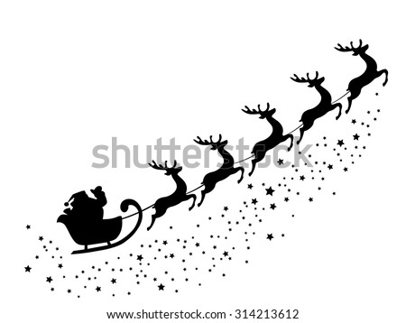vector illustration of Santa Claus flying with deer - stock vector