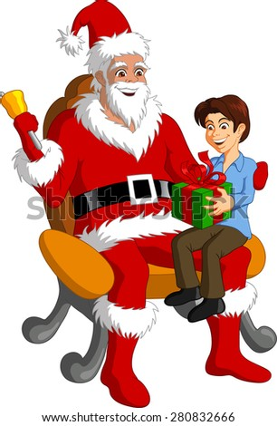 Vector illustration of Santa Claus granting Christmas present to a happy boy. - stock vector