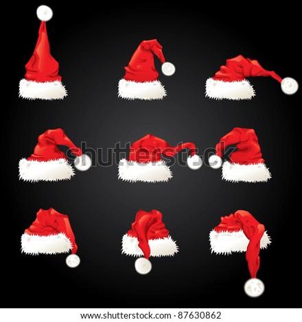 Vector illustration of Santa Claus hat set - stock vector