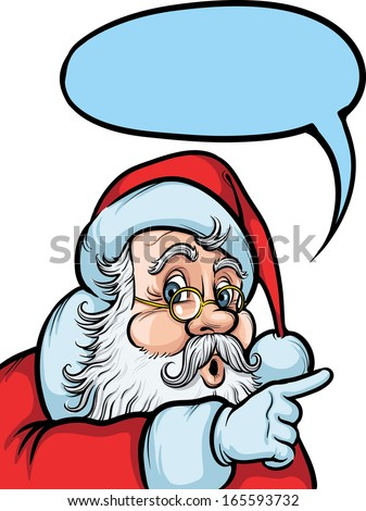 Vector illustration of Santa Claus pointing at something. Easy-edit layered vector EPS10 file scalable to any size without quality loss. High resolution raster JPG file is included.  - stock vector