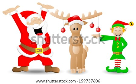 vector illustration of santa claus, reindeer and christmas elf on white