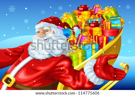 vector illustration of Santa Claus riding on sledge with Christmas gift