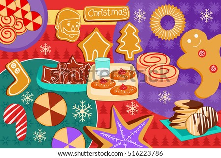 vector illustration of Santa Claus with Christmas Holiday dessert and cookies