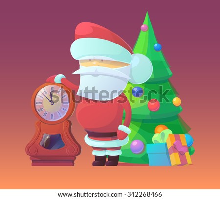 Vector illustration of Santa Claus with clock and gifts in the bag. Merry Christmas, New Year and happy holidays. Celebrating with family, finding toys under christmas tree. X-mas eve. - stock vector