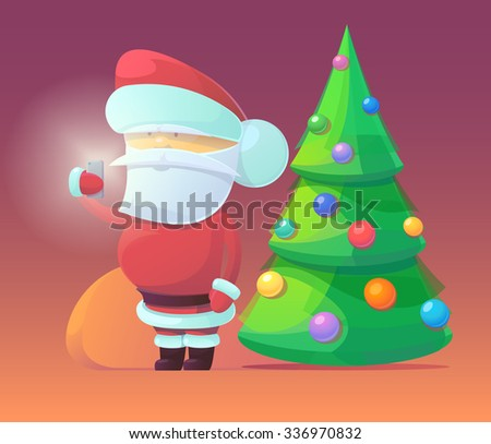 Vector illustration of Santa Claus with firtree and gifts in the bag. Merry Christmas, New Year and happy holidays. Celebrating with family, finding toys under christmas tree. X-mas eve. - stock vector