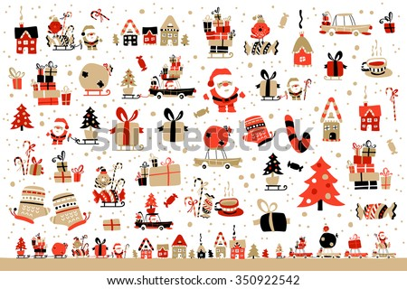 Vector Illustration Of Santa Claus With Gifts For Children - stock vector