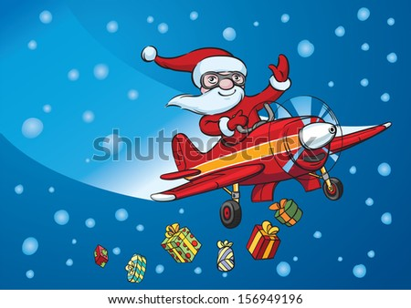Vector illustration of Santa flying on plane. Easy-edit layered vector EPS10 file scalable to any size without quality loss. High resolution raster JPG file is included. - stock vector