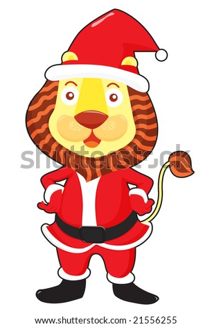 Vector illustration of santa lion