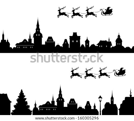Vector illustration of Santa's sleigh flying over old town. All houses are separate objects, can be easily edited. - stock vector