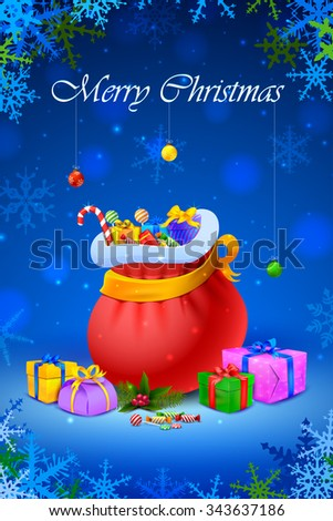vector illustration of Santa sack and gift box for Merry Christmas - stock vector